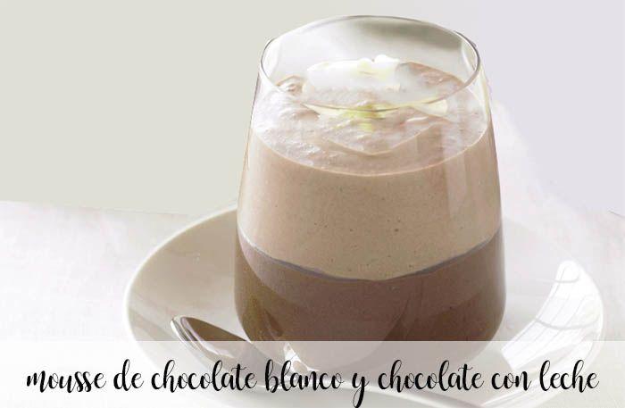 Mousse de chocolate branco e chocolate ao leite com thermomix
