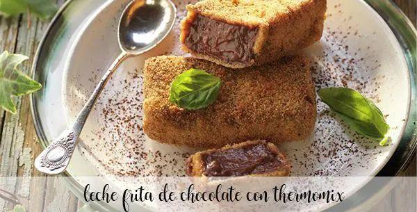 Leite frito com chocolate com termomix