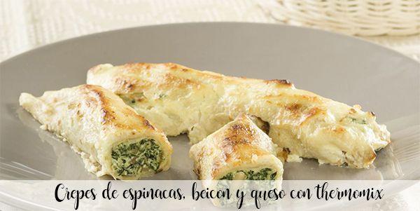 Espinafre, bacon e crepes de queijo com thermomix