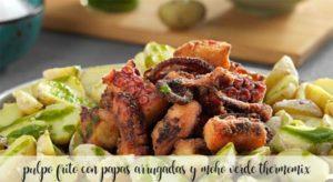 Polvo frito com batatas amassadas e molho verde com Thermomix