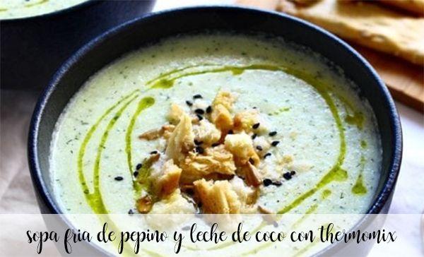 Pepino gelado e sopa de leite de coco com termomix